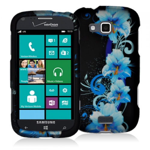 Samsung ATIV Odyssey Blue Flowers Hard Rubberized Design Case Cover