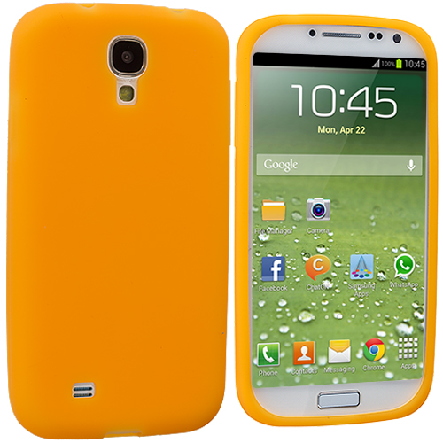 Samsung Galaxy S4 Orange Silicone Soft Skin Case Cover