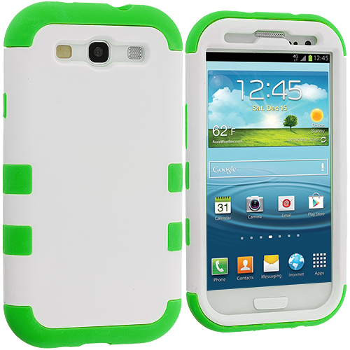 Samsung Galaxy S3 White / Green Hybrid Tuff Hard/Soft 3-Piece Case Cover