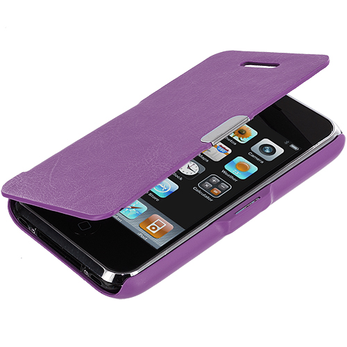 Apple iPhone 3G / 3GS Purple Texture Magnetic Wallet Case Cover Pouch