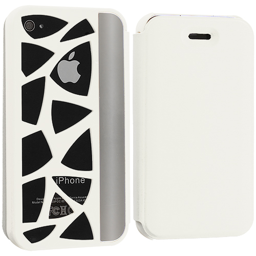 Apple iPhone 4 / 4S 2 in 1 Combo Bundle Pack - Neon Green White Carved Out Wallet Case Cover Pouch : Color White Carved Out