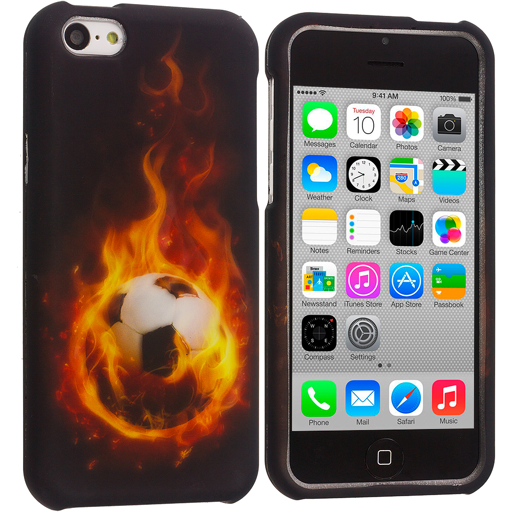 Apple iPhone 5C Flaming Soccar Ball Hard Rubberized Design Case Cover