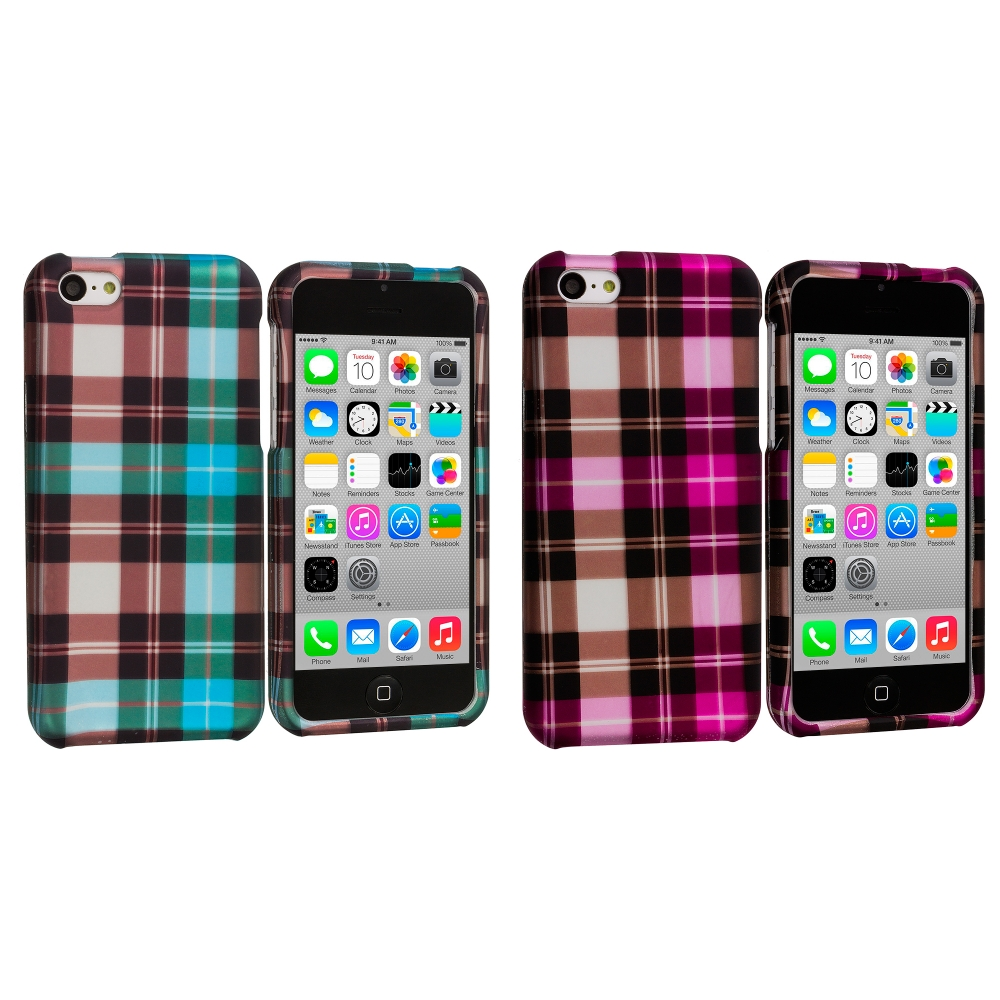Apple iPhone 5C 2 in 1 Combo Bundle Pack - Blue Pink Checker Hard Rubberized Design Case Cover