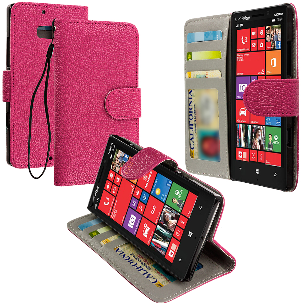 Nokia Lumia 929 Icon Hot Pink Leather Wallet Pouch Case Cover with Slots