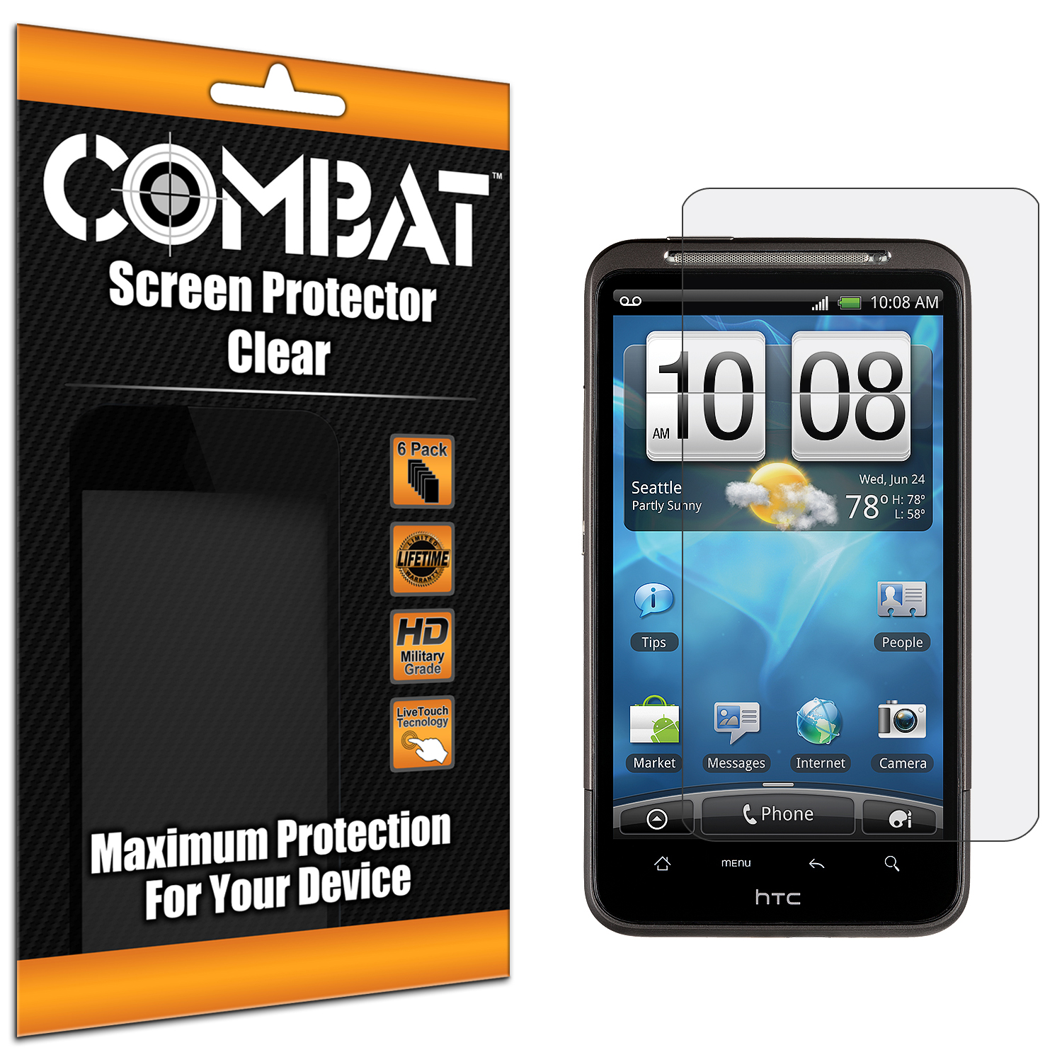 HTC Inspire 4G Combat 6 Pack HD Clear Screen Protector