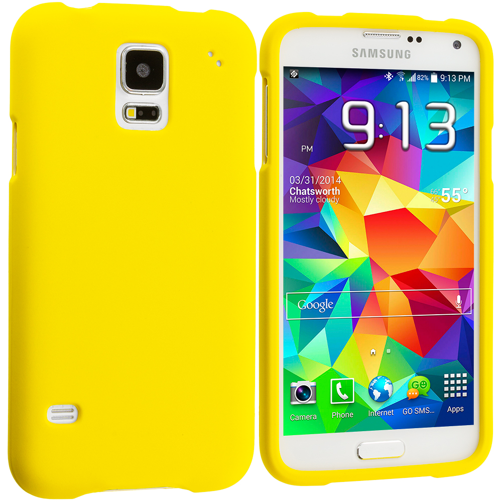 Samsung Galaxy S5 Yellow Hard Rubberized Case Cover