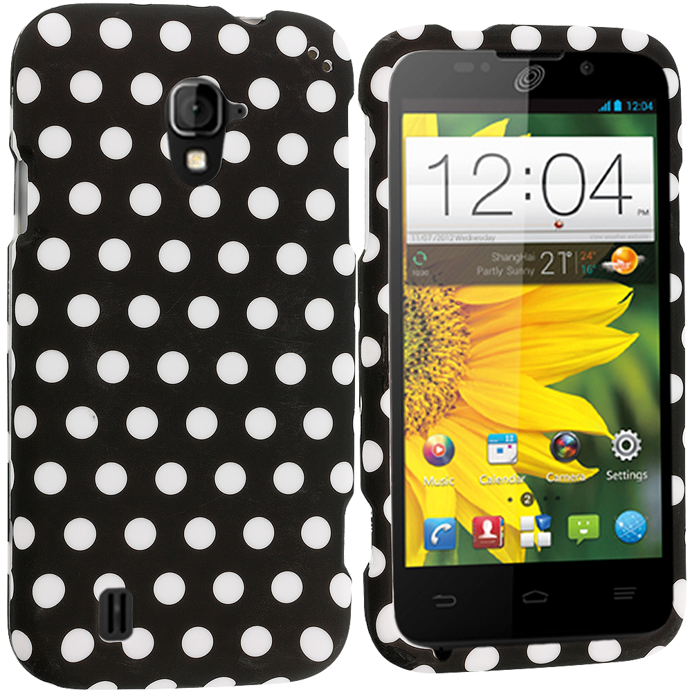 ZTE Majesty Z796C Black / White Polka Dot Hard Rubberized Design Case Cover