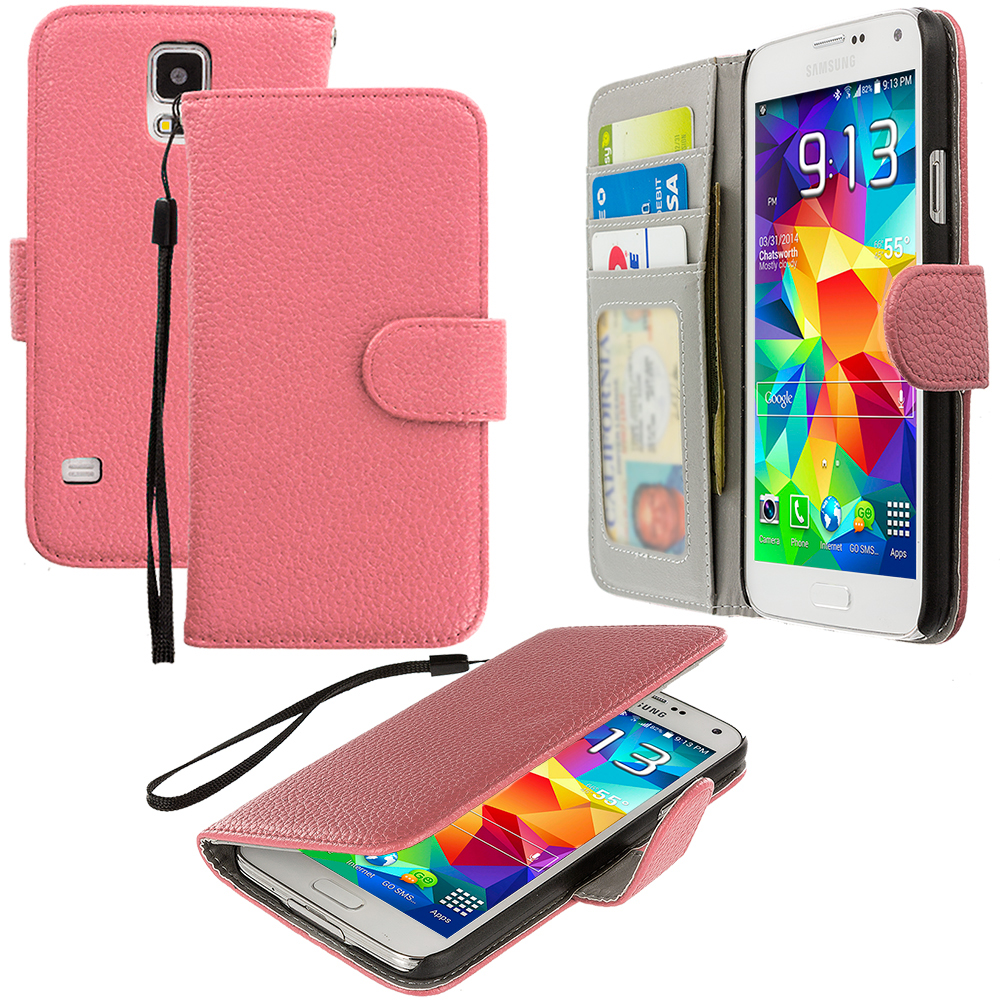 Samsung Galaxy S5 Light Pink Leather Wallet Pouch Case Cover with Slots