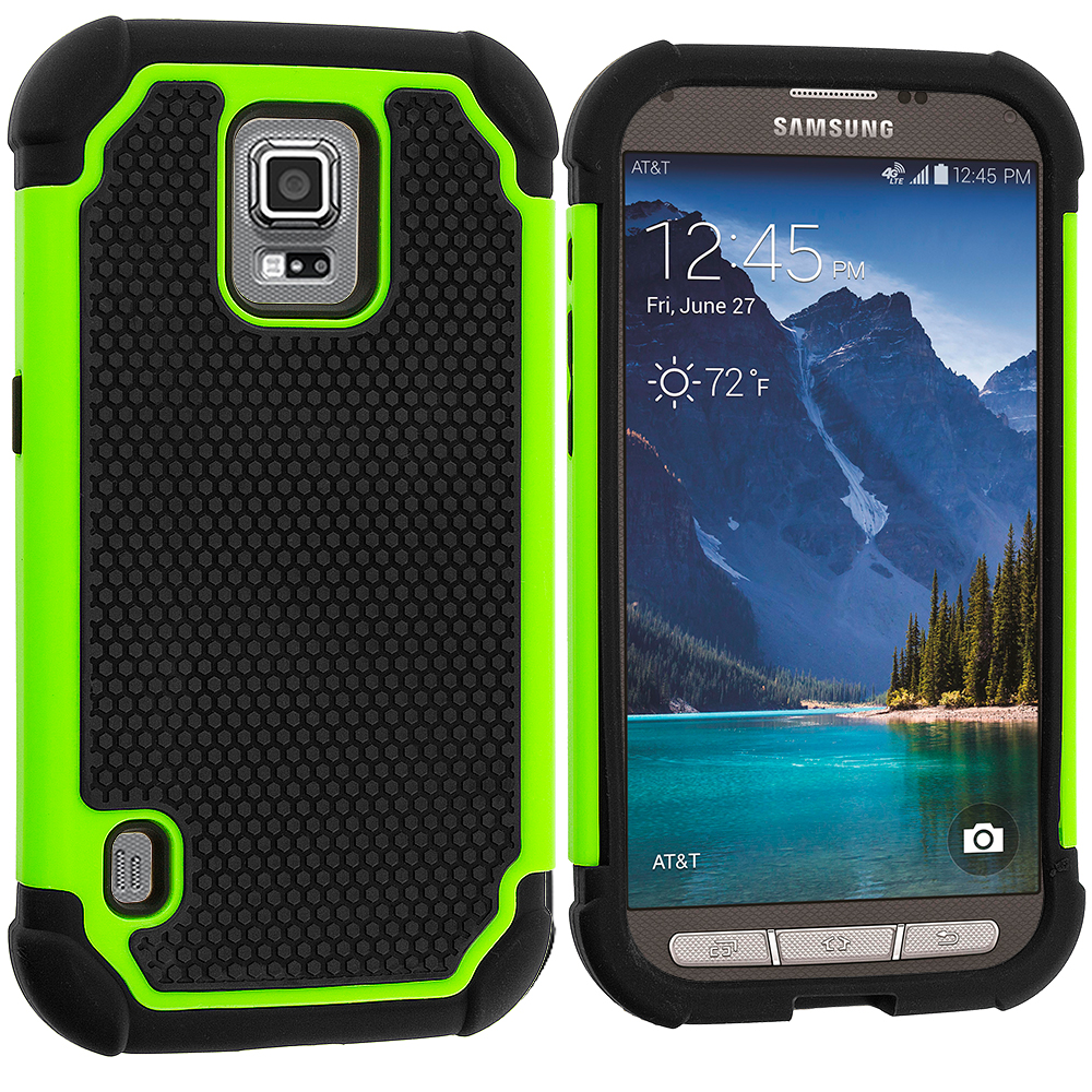 Samsung Galaxy S5 Active Black / Neon Green Hybrid Rugged Hard/Soft Case Cover