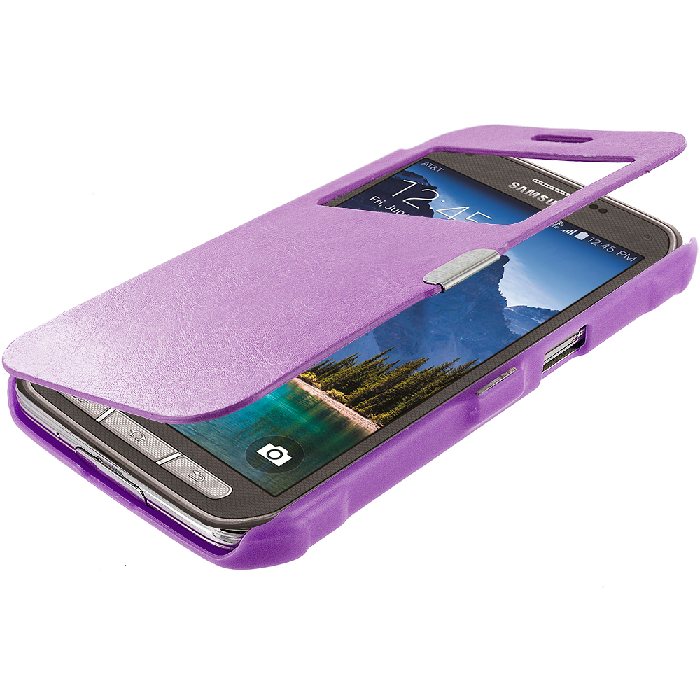 Samsung Galaxy S5 Active Purple (Open) Magnetic Wallet Case Cover Pouch