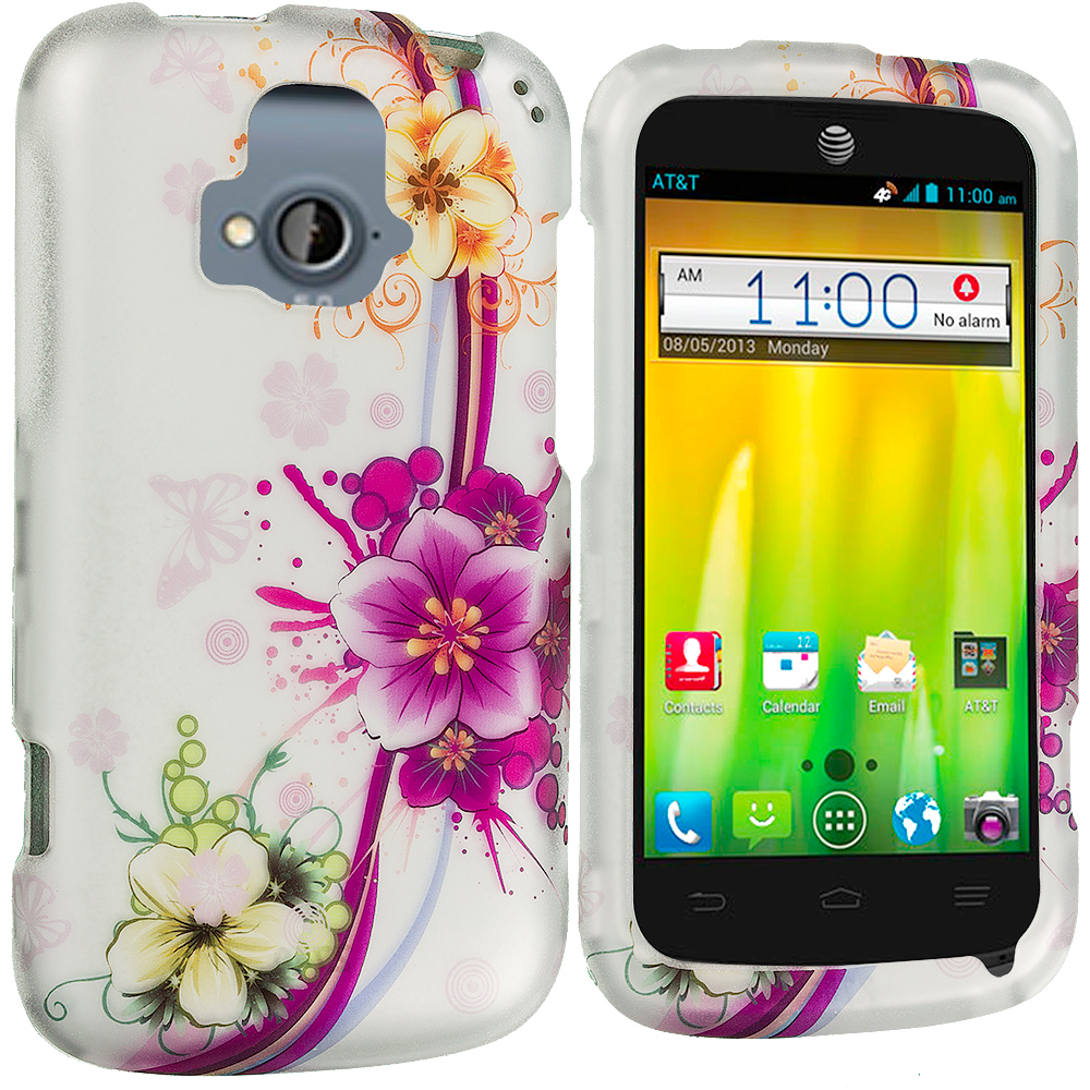 ZTE Radiant Purple Flower Chain 2D Hard Rubberized Design Case Cover