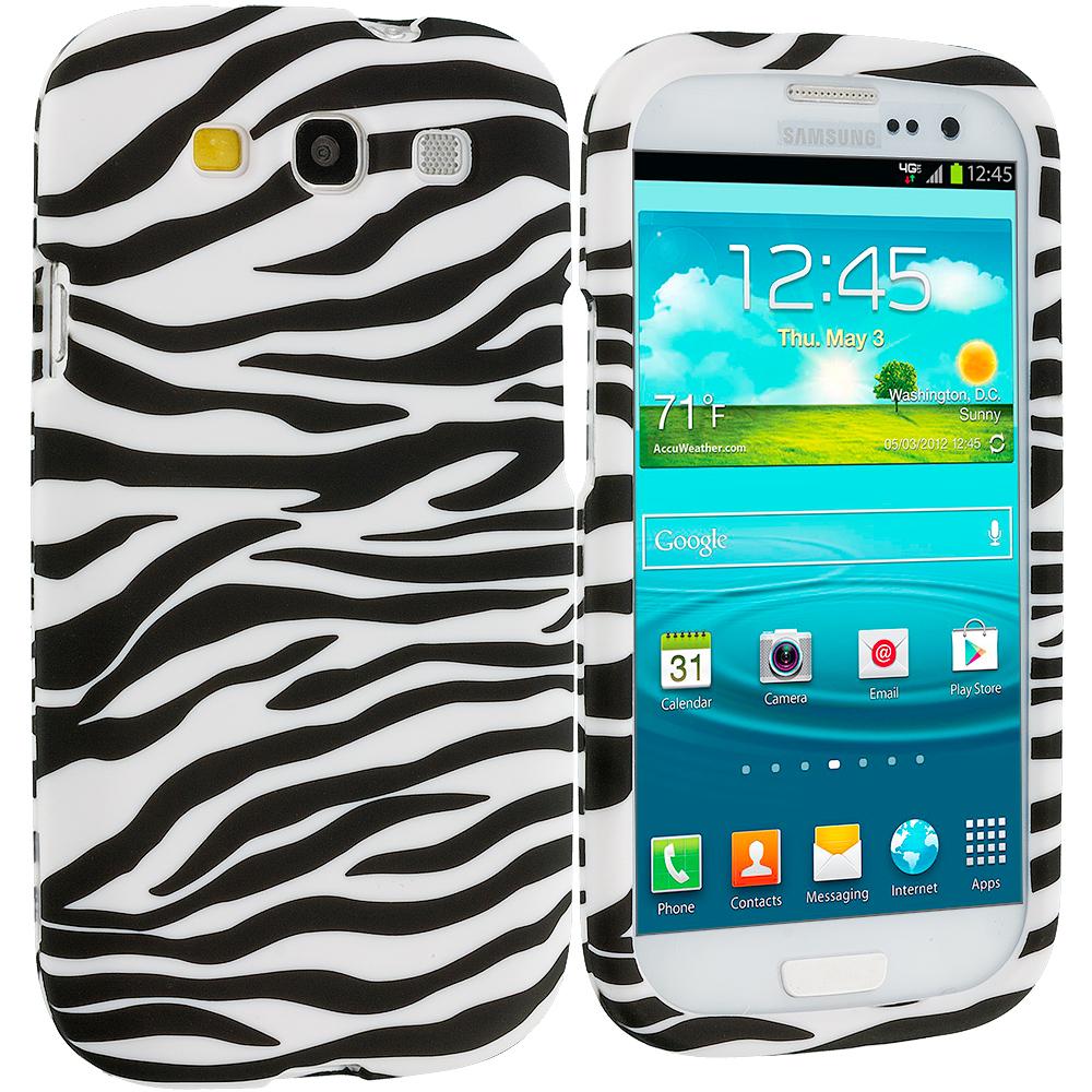 Samsung Galaxy S3 Black/White Zebra Hard Rubberized Design Case Cover