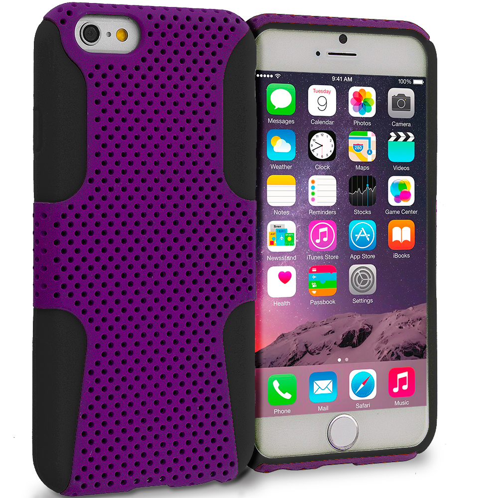 Apple iPhone 6 6S (4.7) 5 in 1 Combo Bundle Pack - Hybrid Mesh Hard/Soft Case Cover : Color Black / Purple