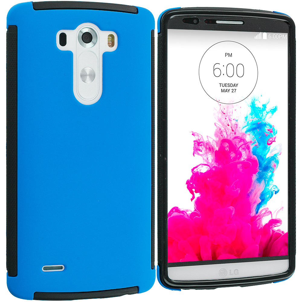 LG G3 Black / Blue Hybrid Hard TPU Shockproof Case Cover With Built in Screen Protector