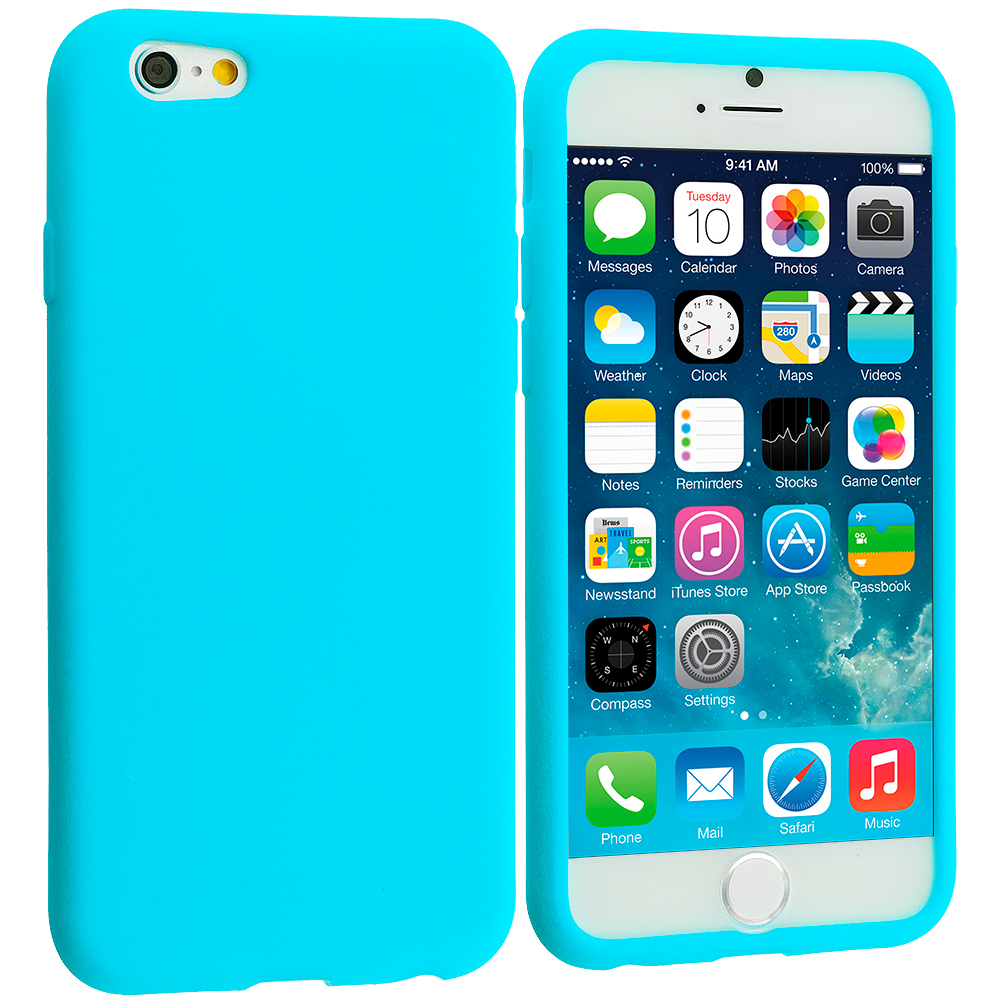 Apple iPhone 6 Plus 6S Plus (5.5) 5 in 1 Combo Bundle Pack - Silicone Soft Skin Rubber Case Cover : Color Baby Blue