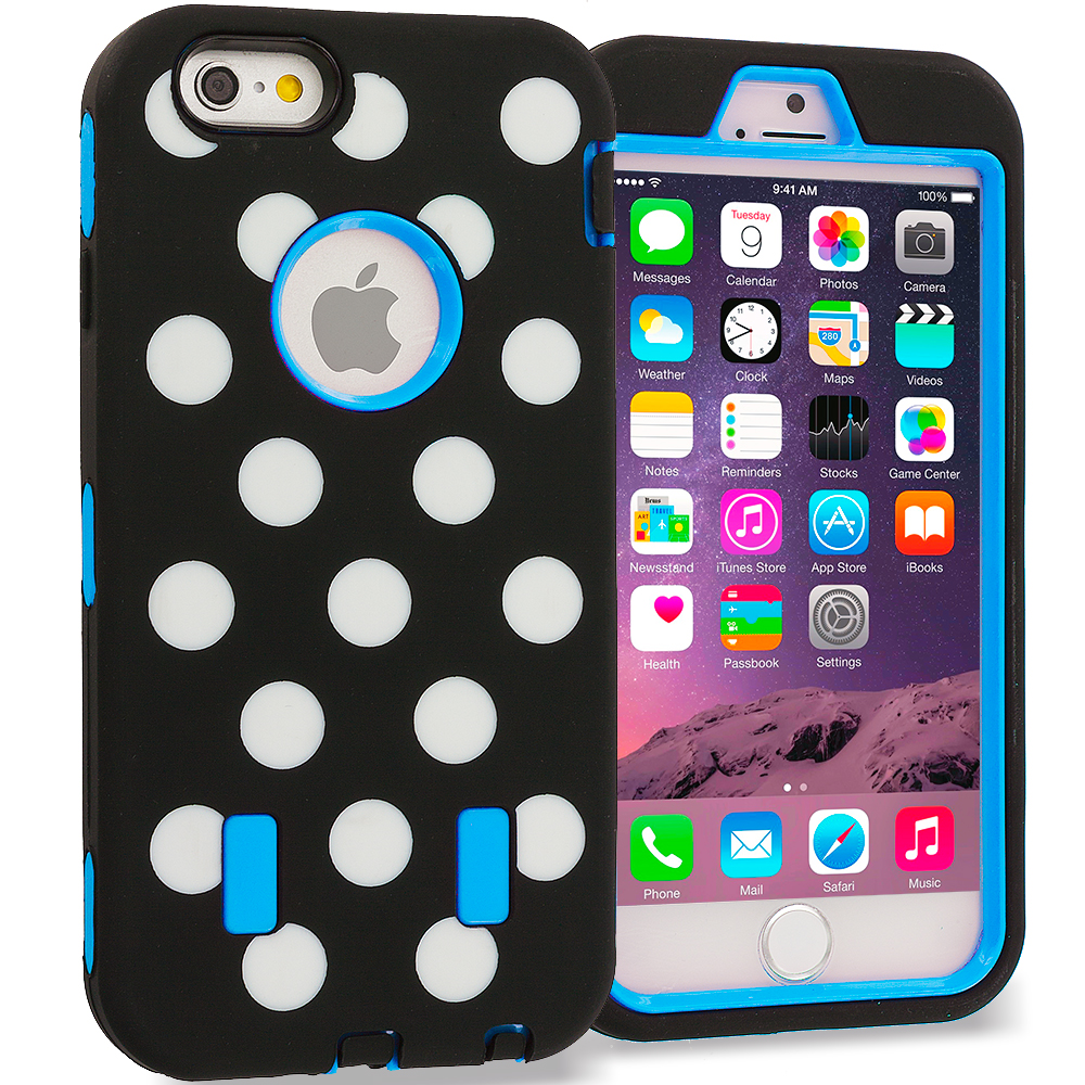 Apple iPhone 6 6S (4.7) Baby Blue Polka Dot Hybrid Deluxe Hard/Soft Case Cover