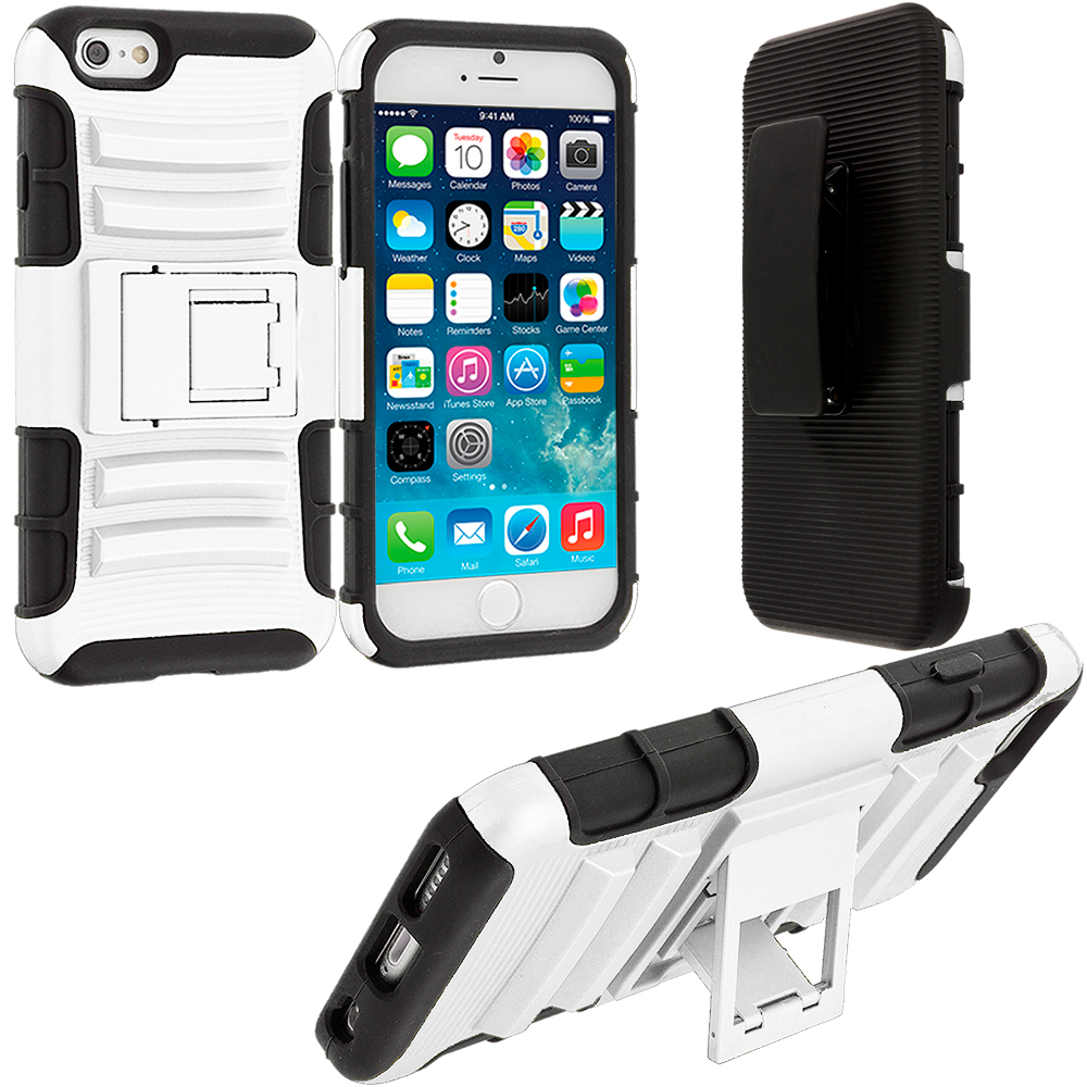 Apple iPhone 6 Plus 6S Plus (5.5) White Hybrid Heavy Duty Rugged Case Cover with Belt Clip Holster