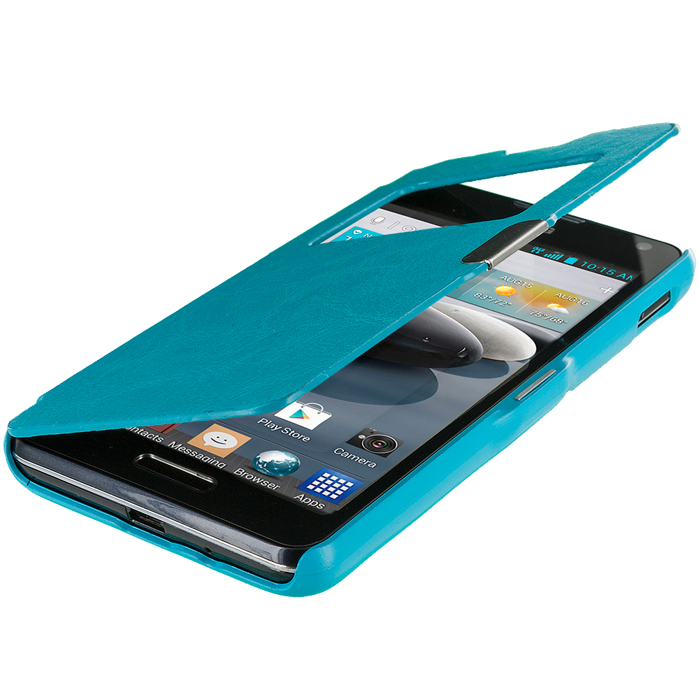 LG Optimus F6 D500 Baby Blue (Open) Magnetic Flip Wallet Case Cover Pouch