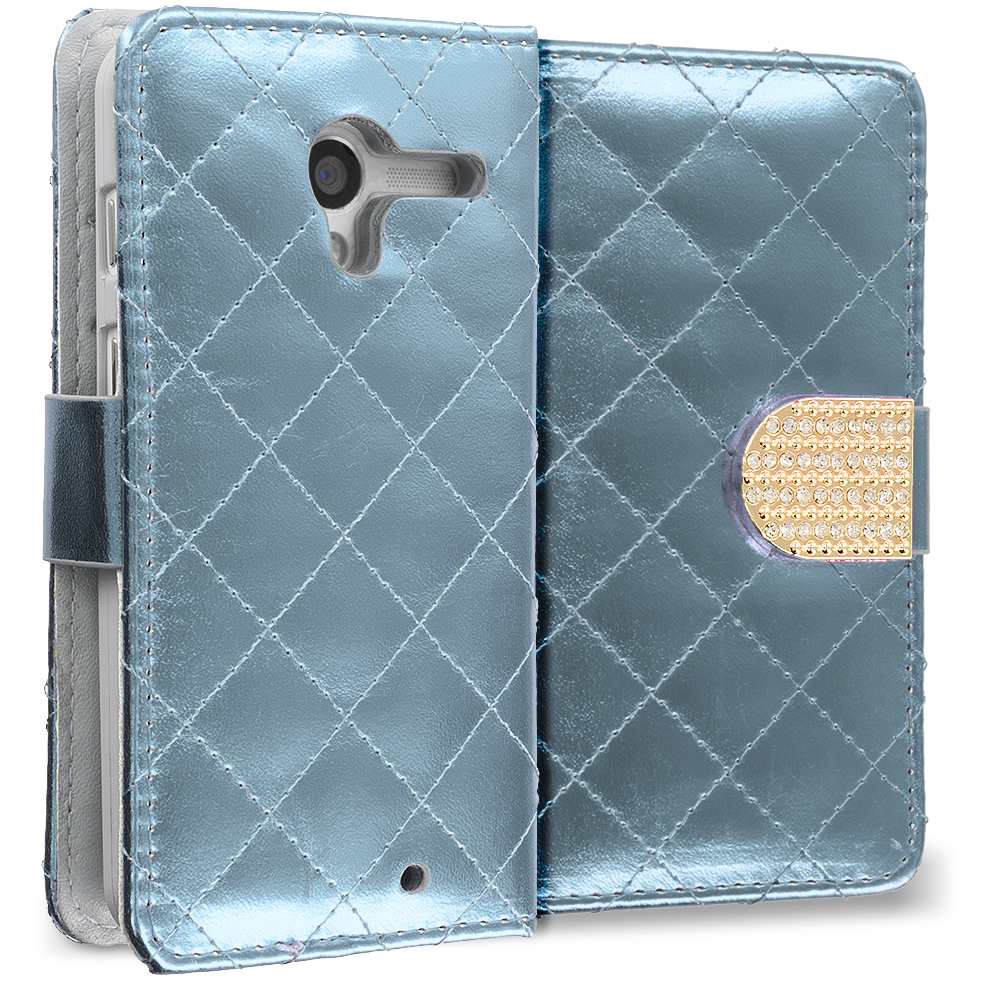 Motorola Moto X White Luxury Wallet Diamond Design Case Cover With Slots