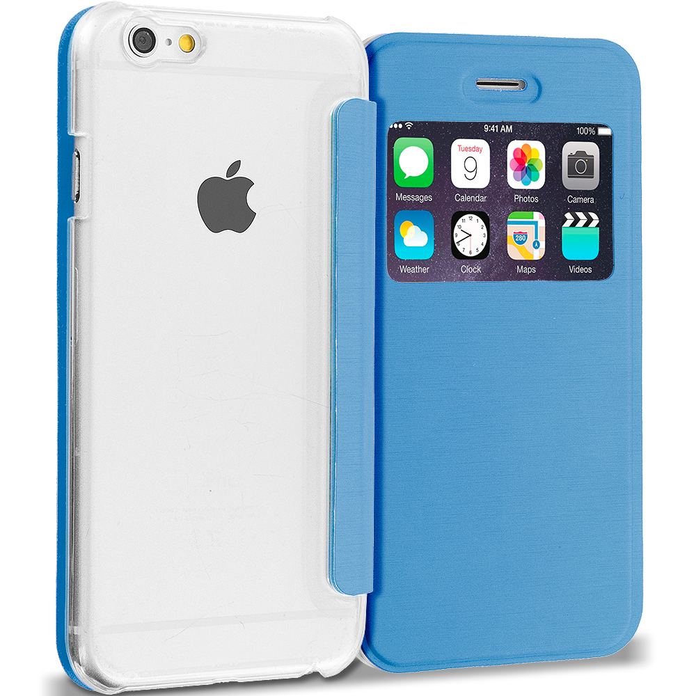 Apple iPhone 6 Plus Baby Blue Slim Hard Wallet Flip Case Cover Clear Back With Window