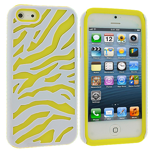 Apple iPhone 5/5S/SE Yellow / White Hybrid Zebra Hard/Soft Case Cover