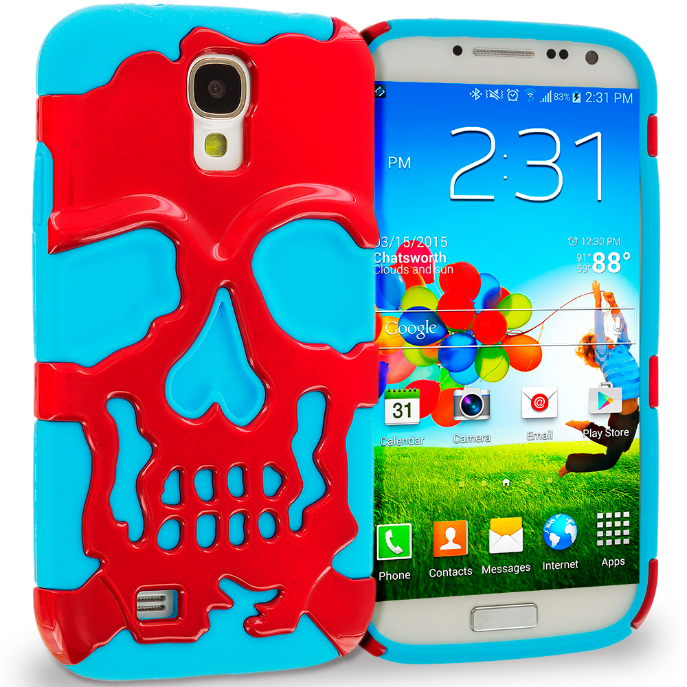 Samsung Galaxy S4 Baby blue / Red Hybrid Skull Hard/Soft Case Cover