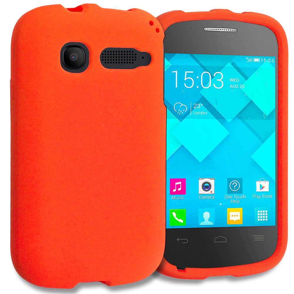 Alcatel One Touch Pop C1 Orange Hard Rubberized Case Cover