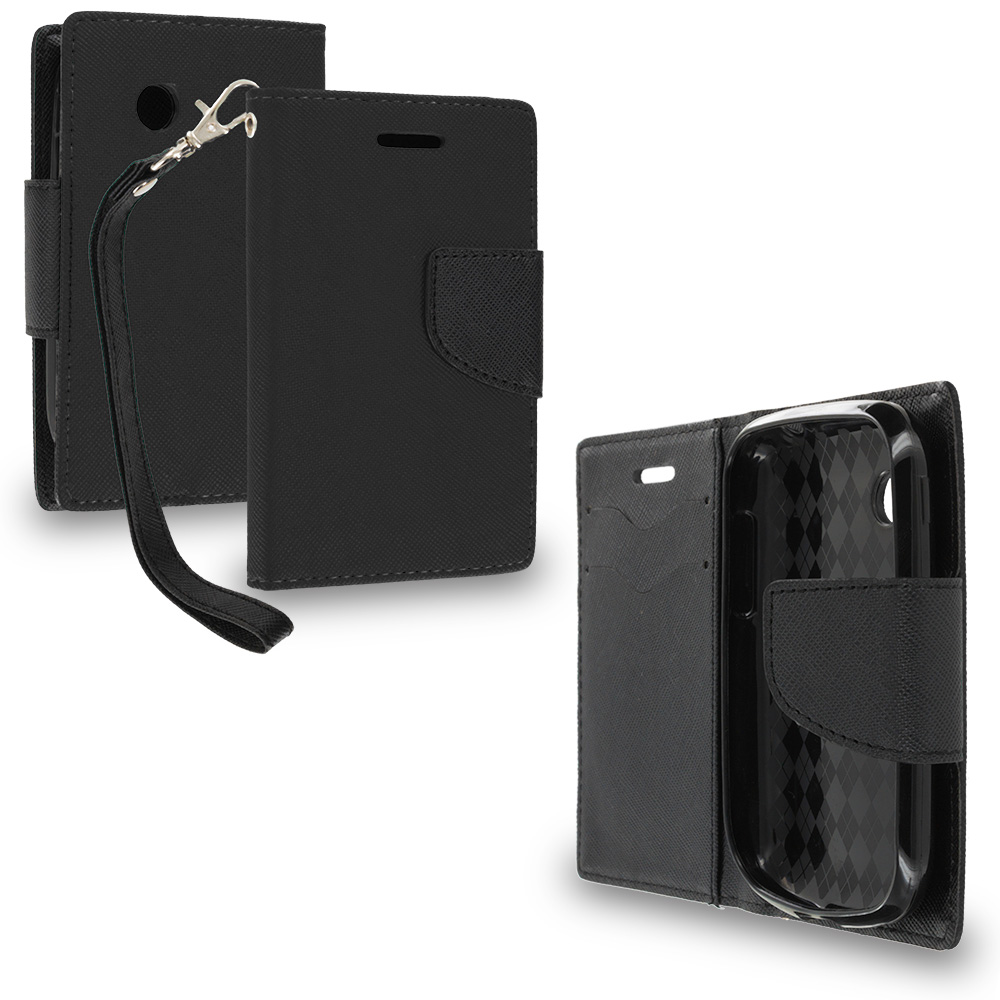 LG 306G / Aspire LN280 Black / Black Leather Flip Wallet Pouch TPU Case Cover with ID Card Slots