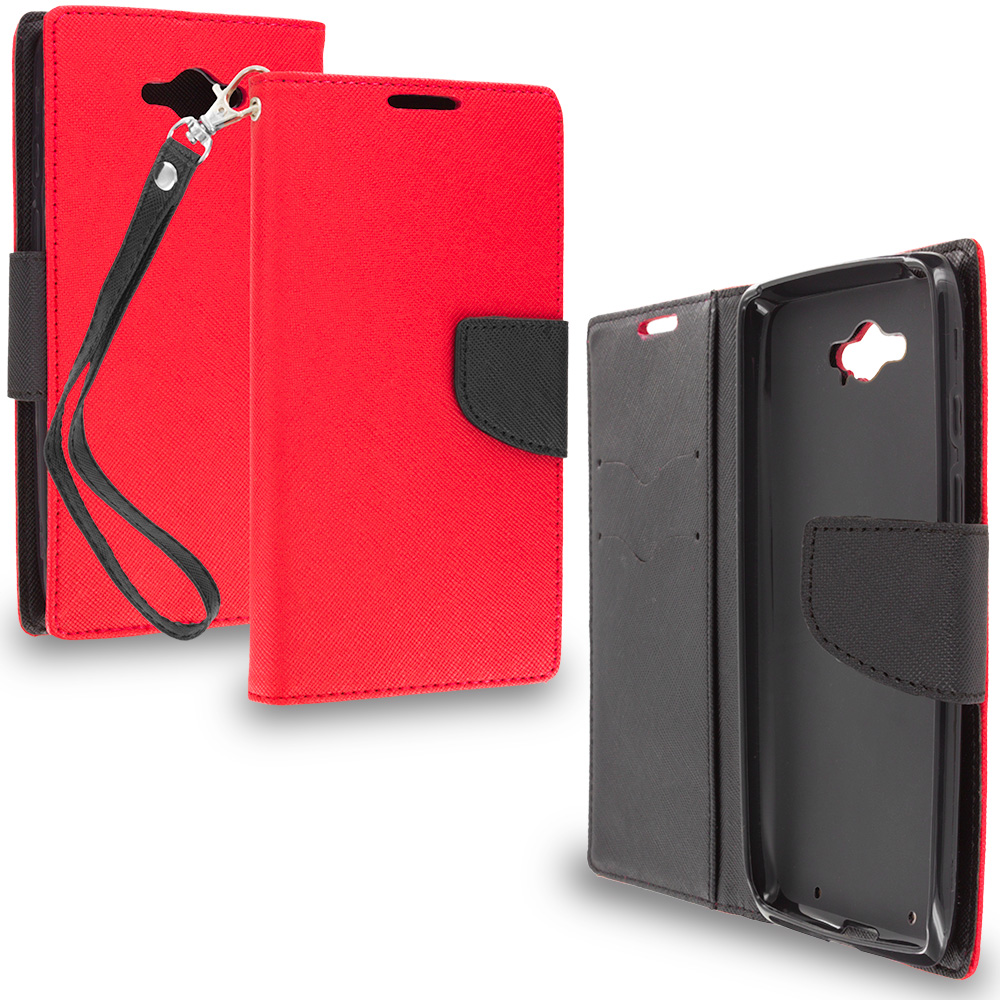 Motorola Droid Turbo Red / Black Leather Flip Wallet Pouch TPU Case Cover with ID Card Slots