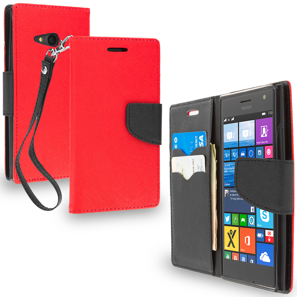 Nokia Lumia 730 735 Red / Black Leather Flip Wallet Pouch TPU Case Cover with ID Card Slots