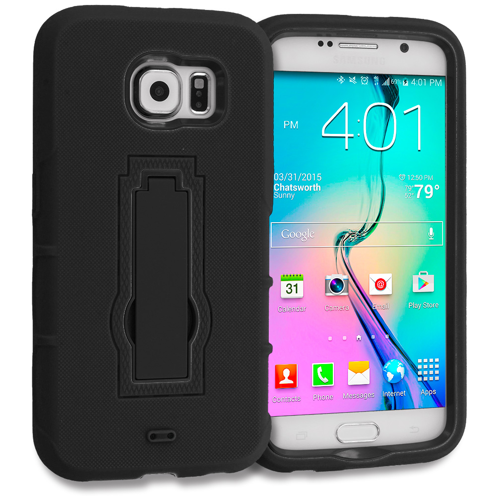 Samsung Galaxy S6 Combo Pack : Black / Black Hybrid Heavy Duty Hard Soft Case Cover with Kickstand : Color Black / Black