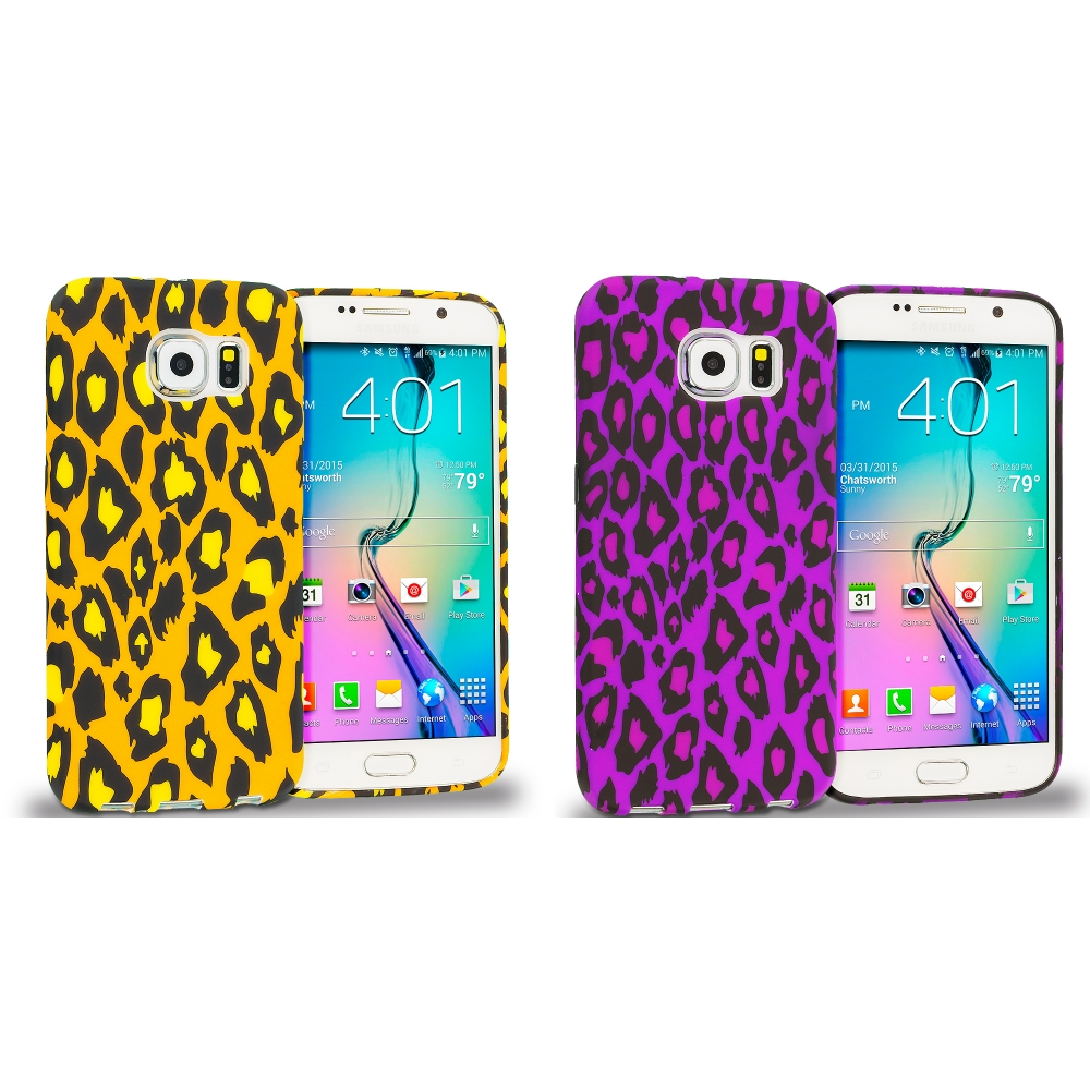 Samsung Galaxy S6 Combo Pack : Leopard Print TPU Design Soft Rubber Case Cover