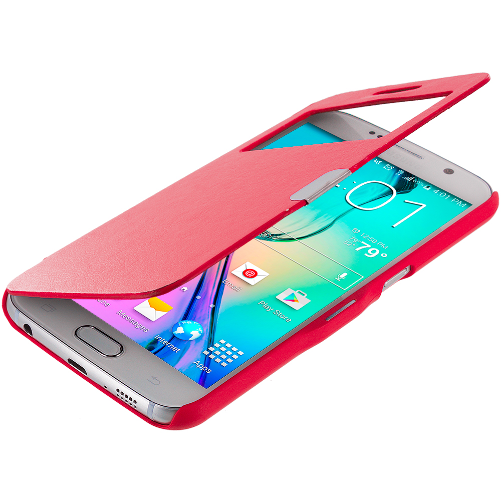Samsung Galaxy S6 Combo Pack : Red Window Magnetic Flip Wallet Case Cover Pouch : Color Red Window