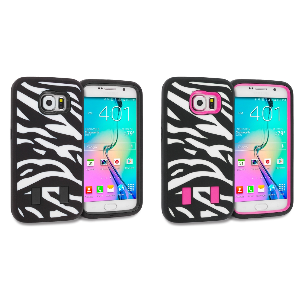 Samsung Galaxy S6 2 in 1 Combo Bundle Pack - Black Hybrid Deluxe Hard/Soft Case Cover
