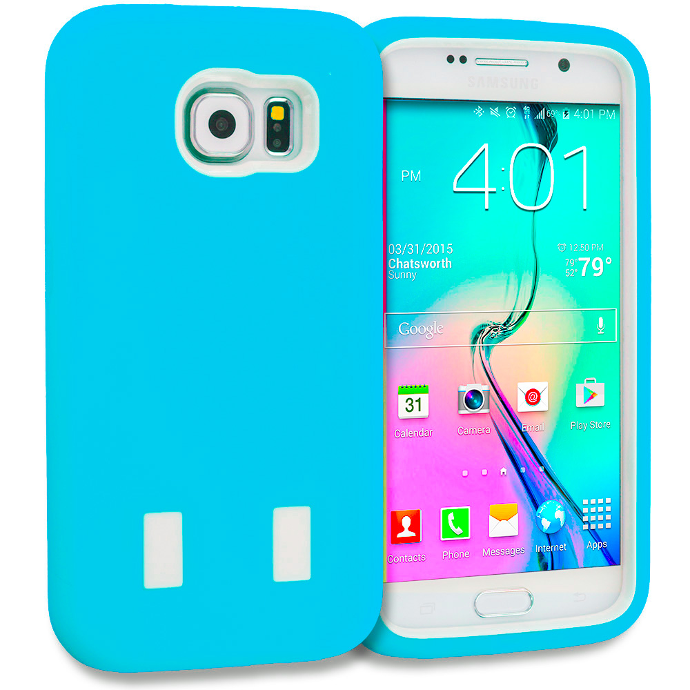 Samsung Galaxy S6 Baby Blue / White Hybrid Deluxe Hard/Soft Case Cover