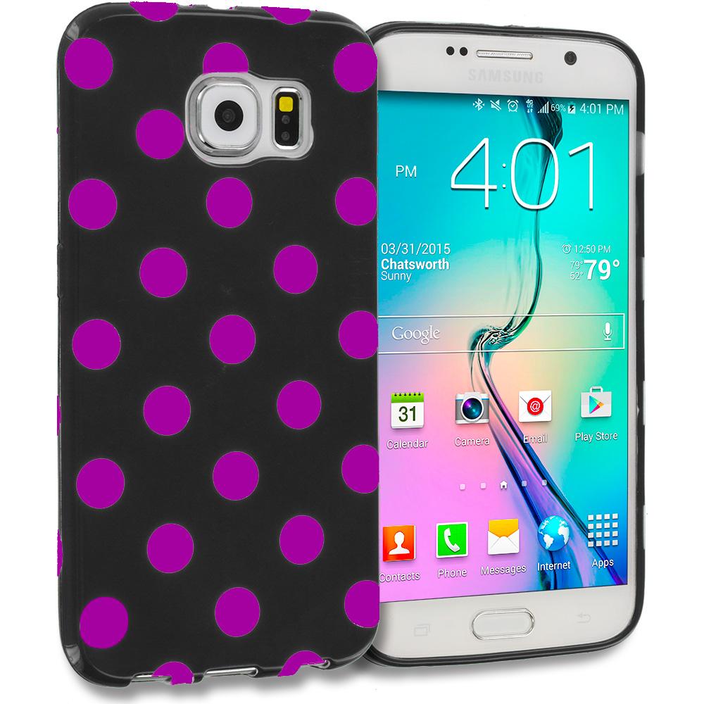 Samsung Galaxy S6 Black / Hot Pink TPU Polka Dot Skin Case Cover