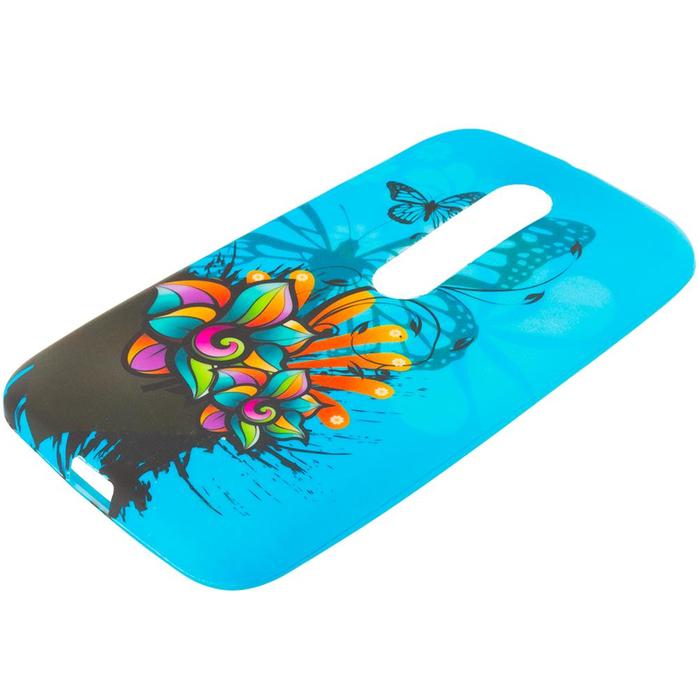 Motorola Moto G 3rd Gen 2015 Blue Butterfly Flower TPU Design Soft Rubber Case Cover