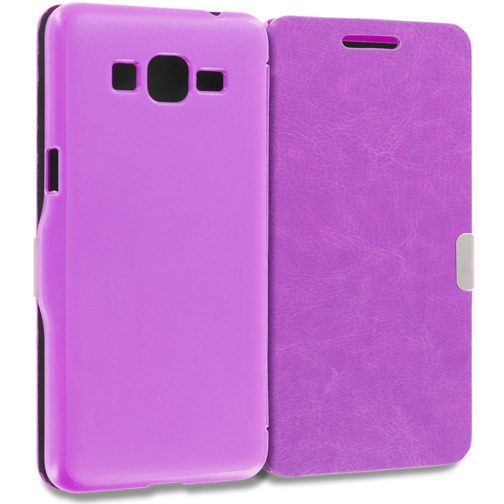 Samsung Galaxy Grand Prime LTE G530 2 in 1 Combo Bundle Pack - Purple Pink Magnetic Flip Wallet Case Pouch : Color Purple