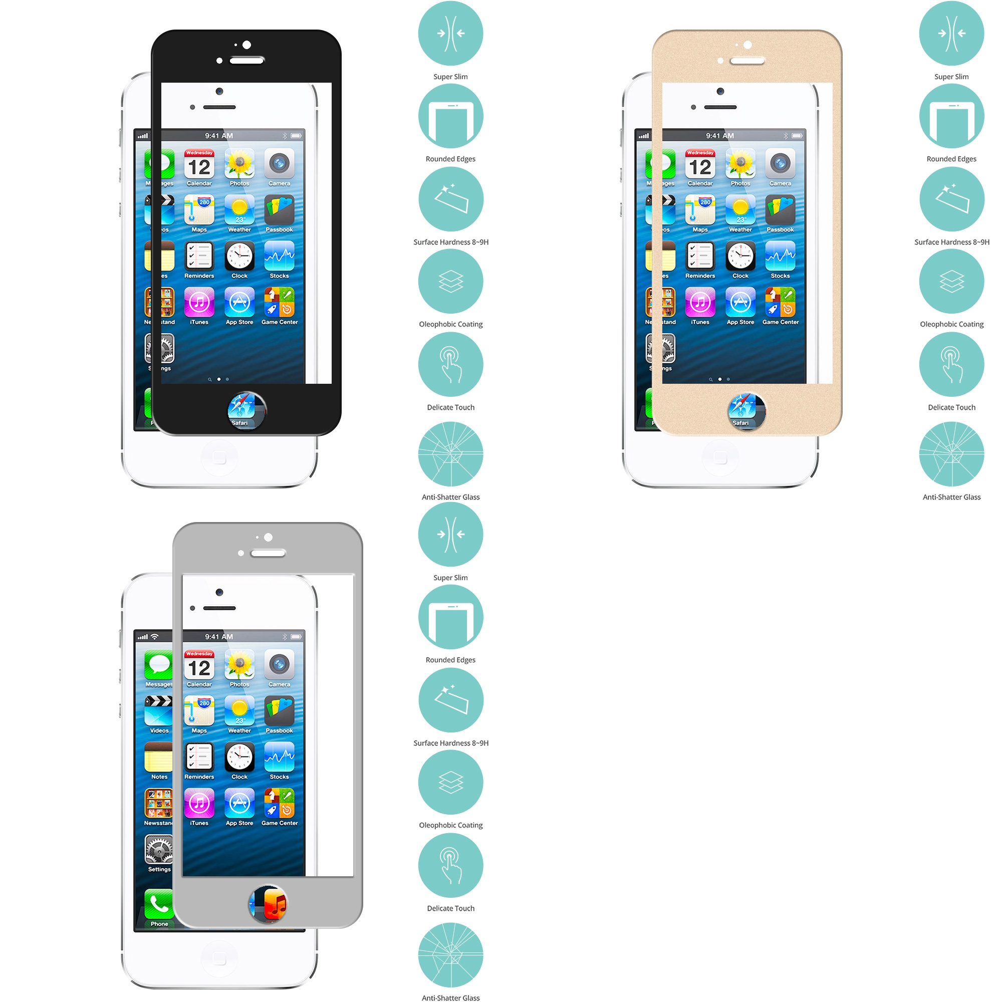 Apple iPhone 5 / 5S / 5C Combo Pack : Black Tempered Glass Film Screen Protector Colored
