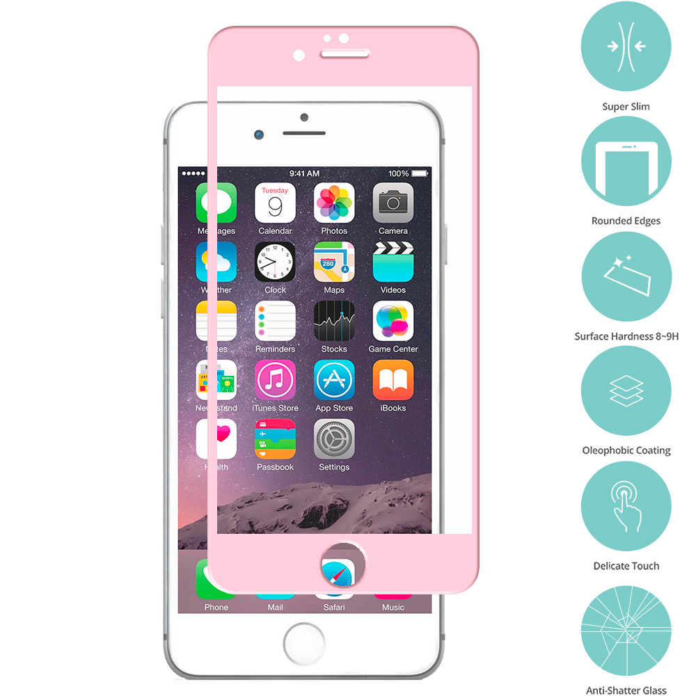 Apple iPhone 6 Plus 6S Plus (5.5) Light Pink Tempered Glass Film Screen Protector Colored