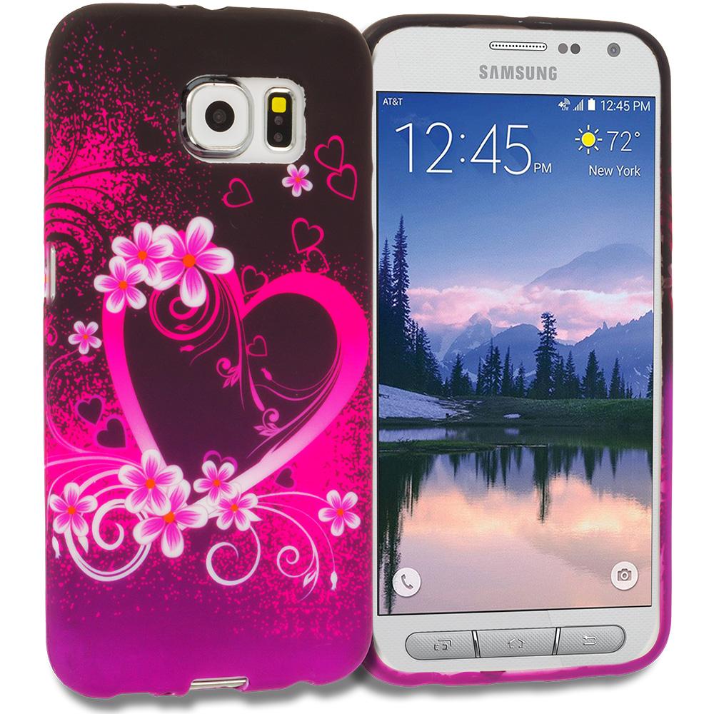 Samsung Galaxy S6 Active Purple Love TPU Design Soft Rubber Case Cover