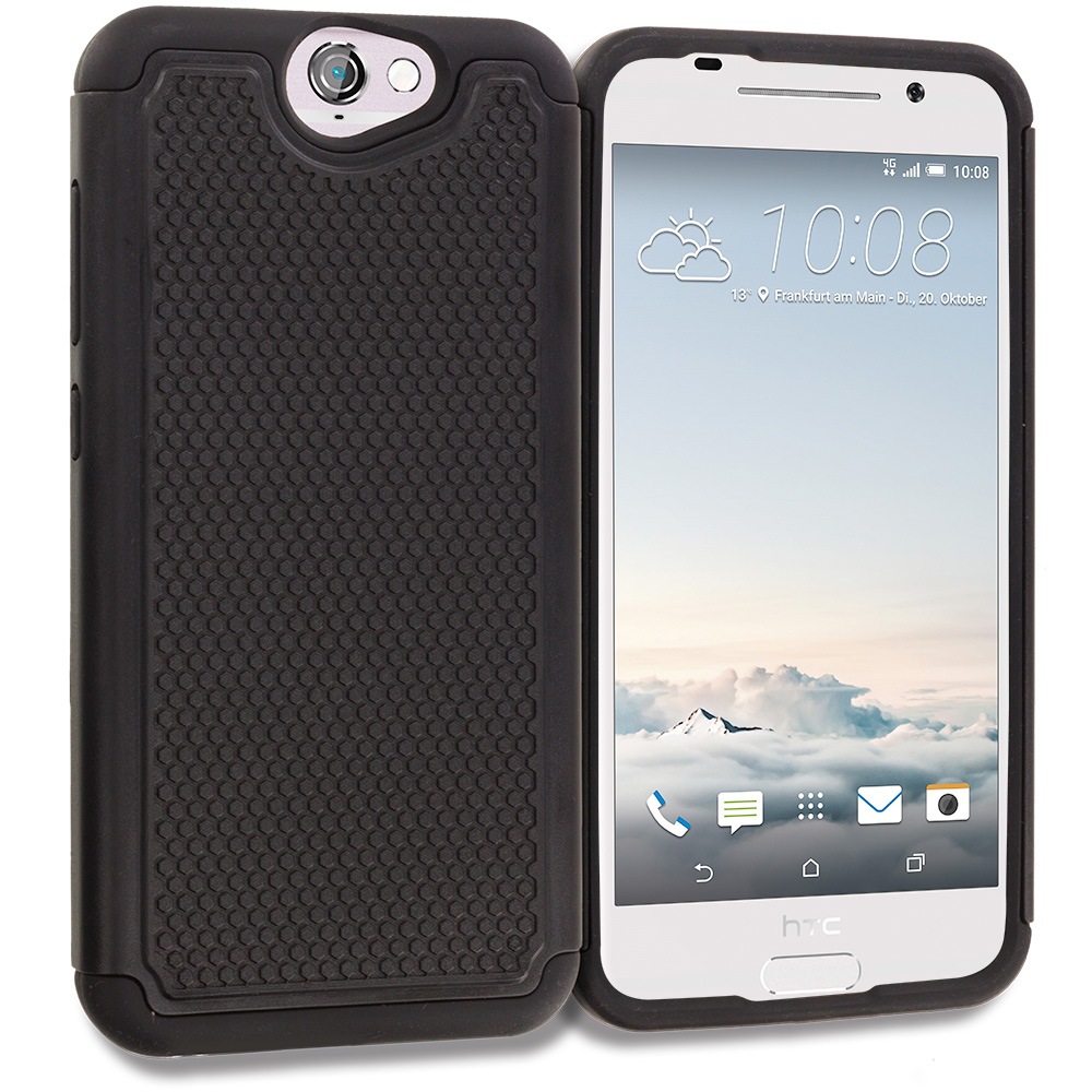 HTC Aero One A9 Black Hybrid Rugged Grip Shockproof Case Cover