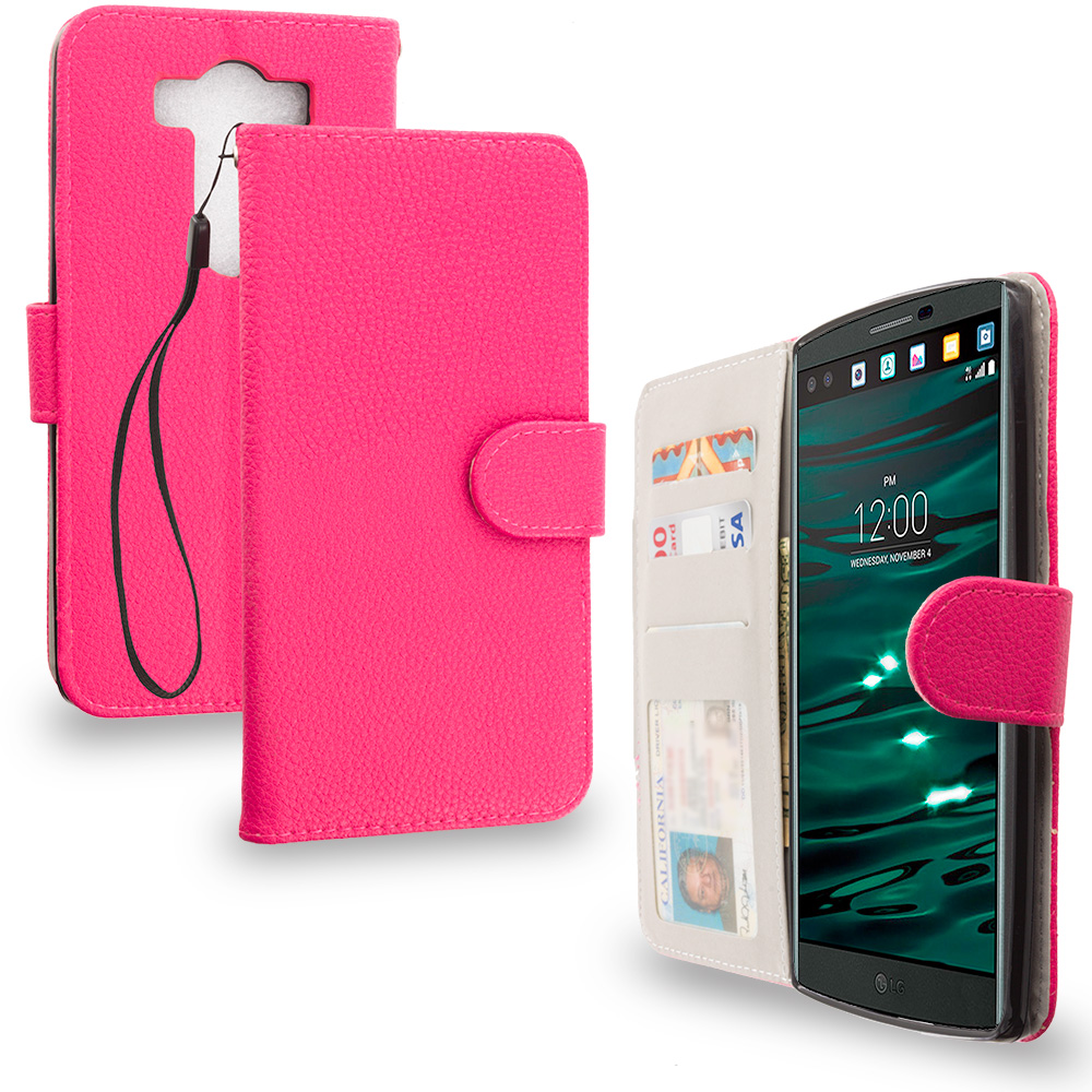 LG V10 Hot Pink Leather Wallet Pouch Case Cover with Slots