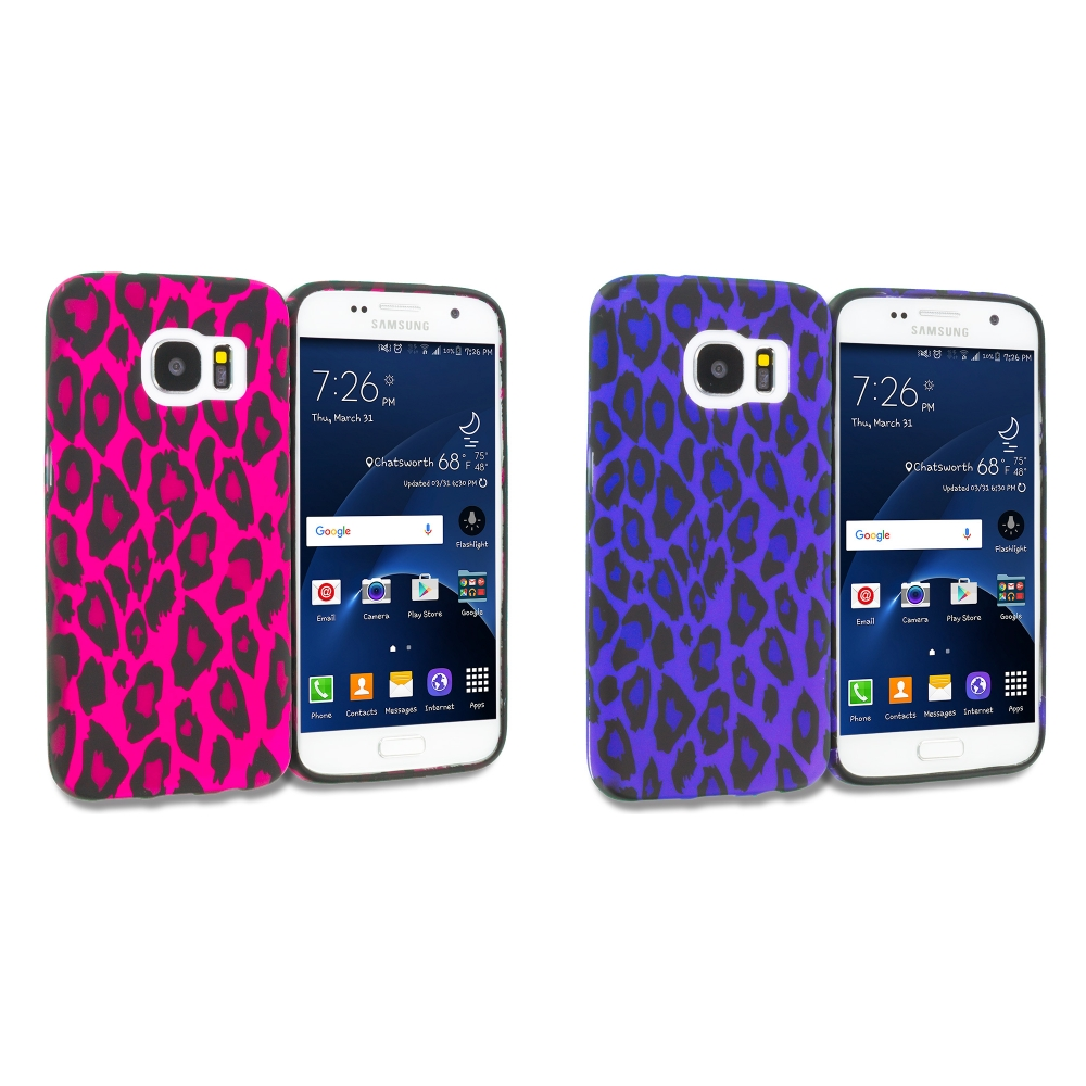 Samsung Galaxy S7 Combo Pack : Purple Black Leopard TPU Design Soft Rubber Case Cover
