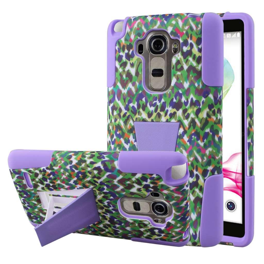 LG G Stylo - Purple Rainbow Leopard MPERO IMPACT X - Kickstand Case Cover
