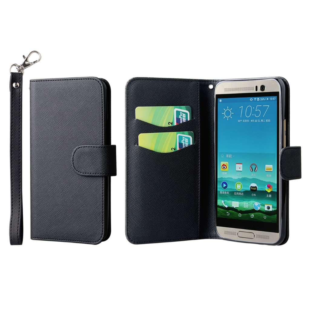 HTC One M9 Plus - Black MPERO FLEX FLIP Wallet Case Cover