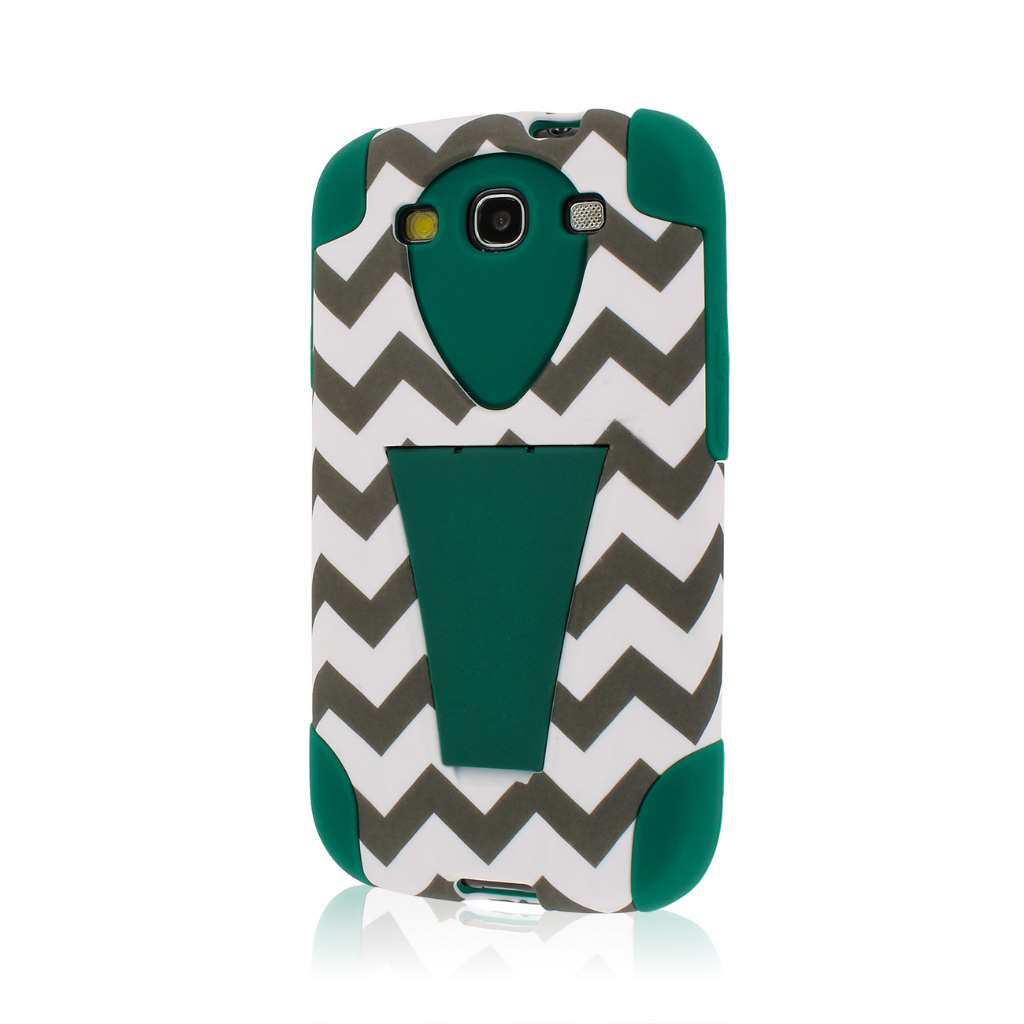 Samsung Galaxy S3 - Teal Chevron MPERO IMPACT X - Kickstand Case Cover