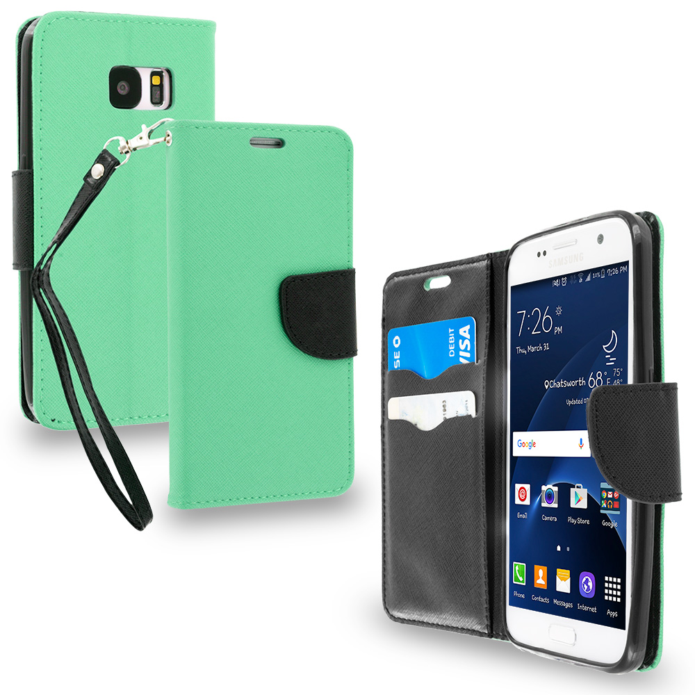 Samsung Galaxy S7 Combo Pack : Black / Black Leather Flip Wallet Pouch TPU Case Cover with ID Card Slots : Color Mint Green / Black