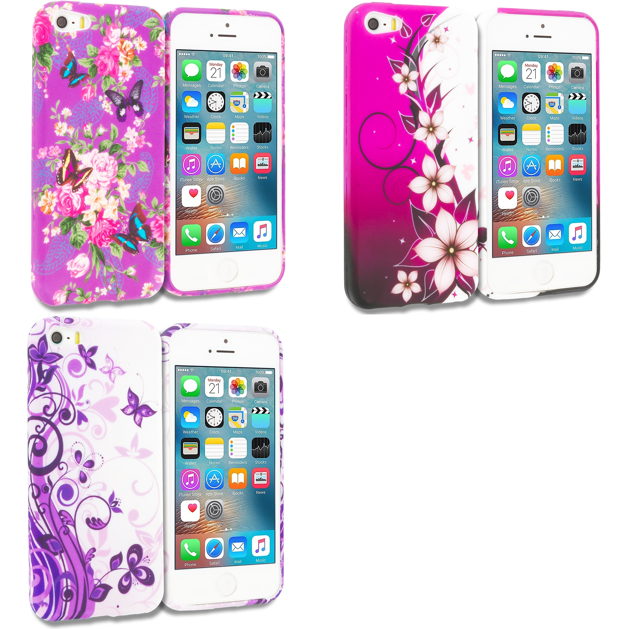 Apple iPhone 5/5S/SE Combo Pack : Purple Mixed Flower TPU Design Soft Rubber Case Cover