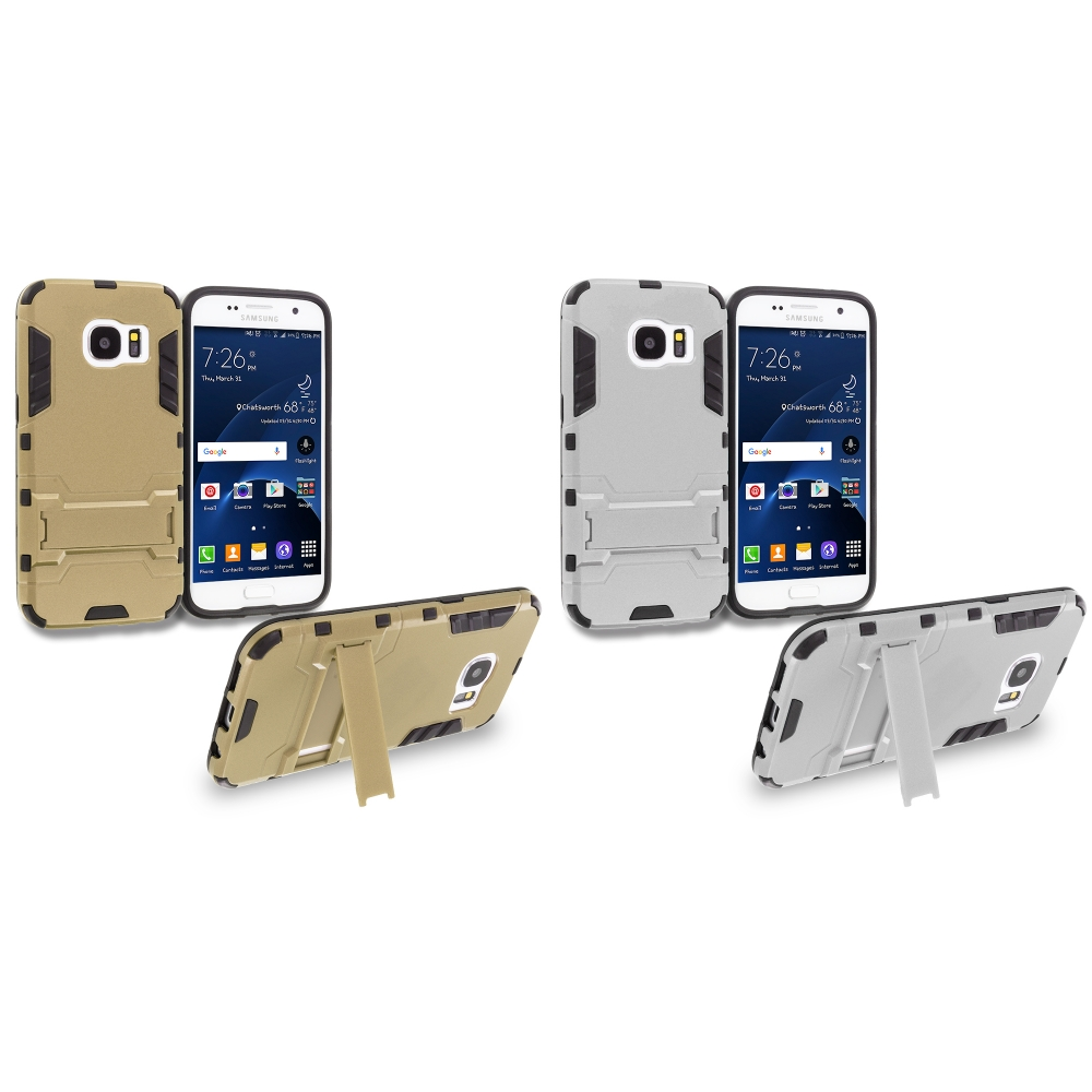 Samsung Galaxy S7 Combo Pack : Gold Hybrid Transformer Armor Slim Shockproof Case Cover Kickstand